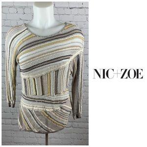 Nic+Zoe Asymmetric Textured Striped Top